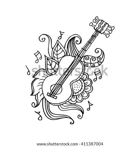 Vector Art Line Ukulele Guitar Playing Stock Vector