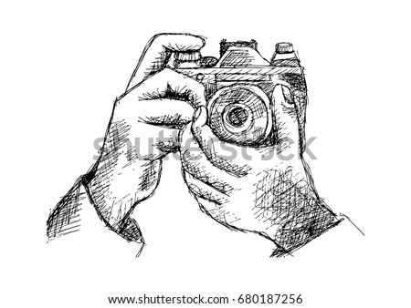 Two Hands Holding Camera Hand Drawing Stock Vector