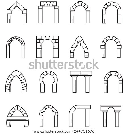 Black Line Icons Vector Collection Arches Stock Vector