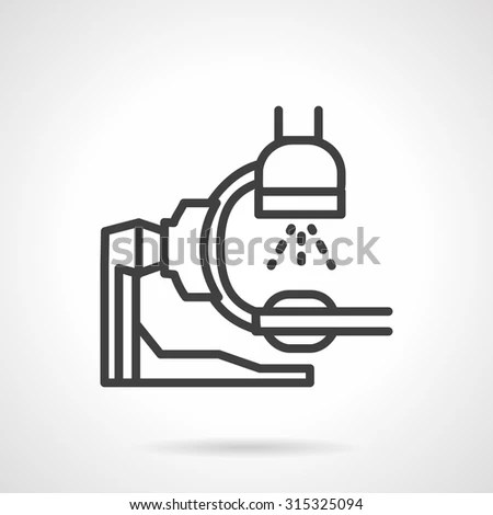 Flat simple line style x-ray machine vector icon