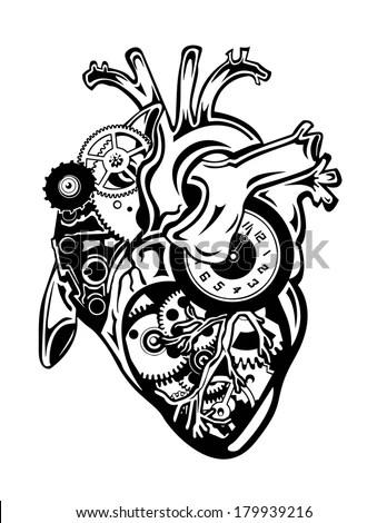 Steampunk Human Heart Gears Clock Pieces Stock Vector
