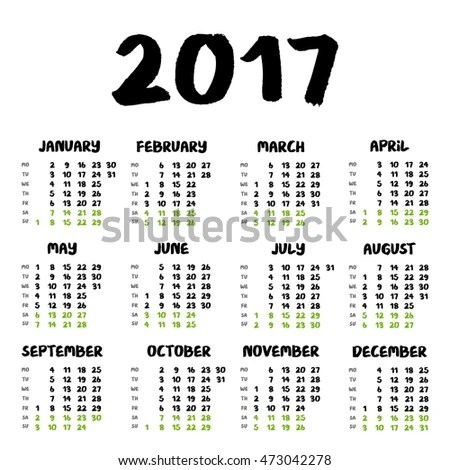 2018 Islamic Hijri Calendar Template Design Stock Vector