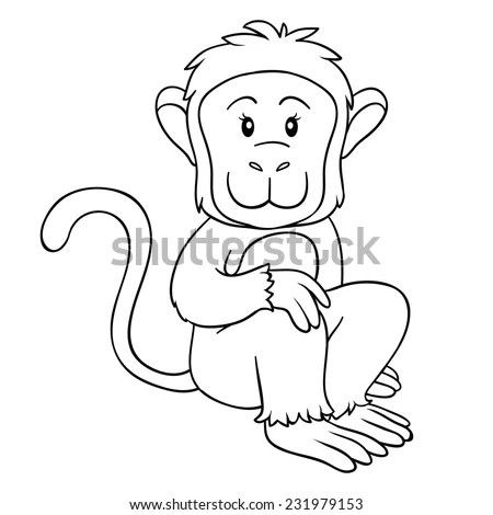 Monkey Outline Stock Images, Royalty-Free Images & Vectors