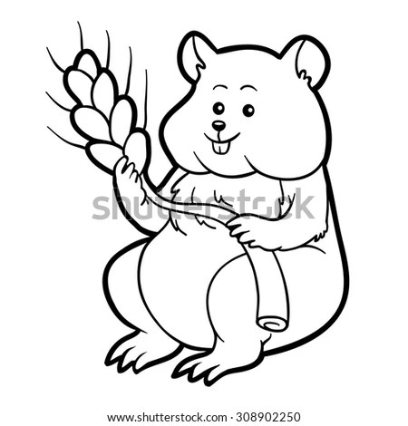 Coloring Book Children Hamster Stalk Wheat Stock Vector