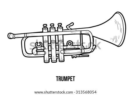 Vector Icon Golden Trumpet Black Silhouette Stock Vector
