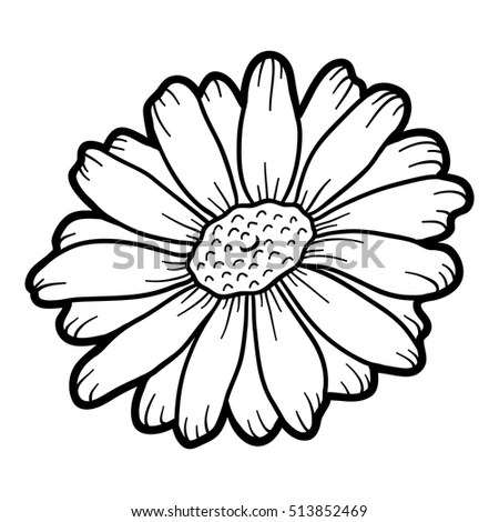 Coloring Book Children Flower Chamomile Stock Vector