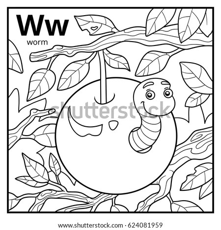 Coloring Book Children Colorless Alphabet Letter เวกเตอร์