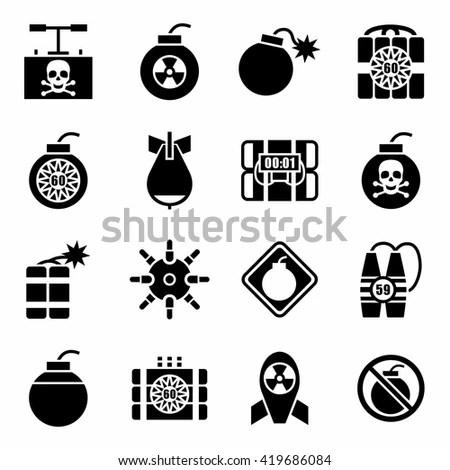 Bomb Icons Mono Vector Symbols Stock Vector 207515281