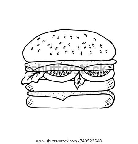Hamburger Engravevector Illustration Woodcut Style Burger
