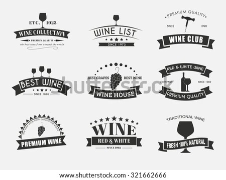 Design Wine Logos Emblems Old Style Stock Vector 321662666