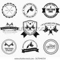 Tattoo parlors shops studios and tattoo artists vector