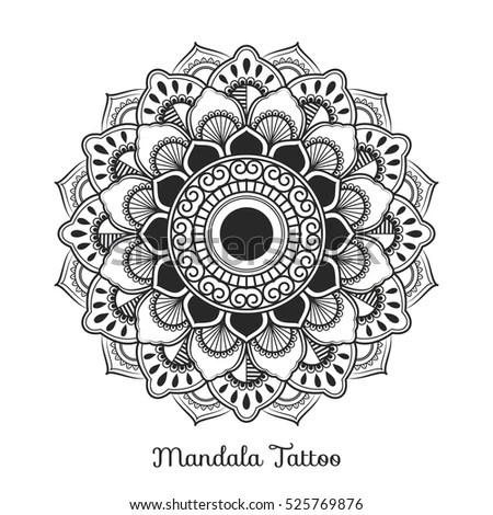 Mandala Decorative Ornament Design Coloring Page Stock
