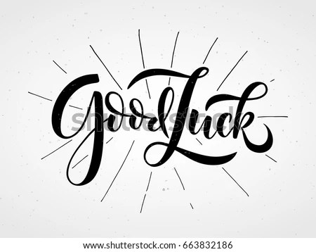 Hand Sketched Good Luck Lettering Typography Stock Vector
