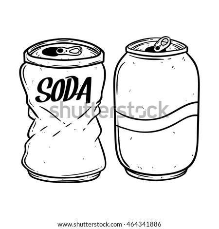 Black White Soda Can Using Hand Stock Vector 464341886
