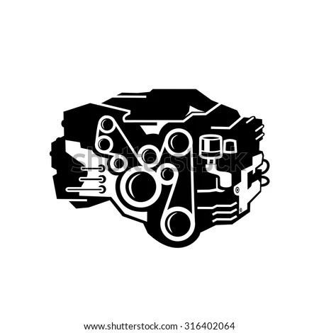 Car Engine Symbol Stylized Vector Silhouette Stock Vector
