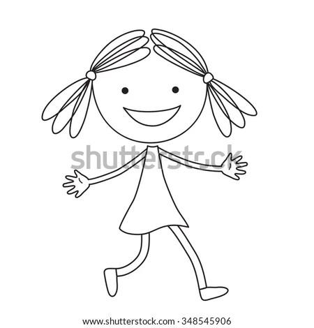 Illustration Cartoon Girl Black Color On Stock Vector