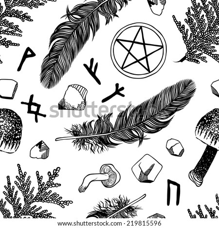 Witchcraft Seamless Pattern Vector Pattern Ritual Stock