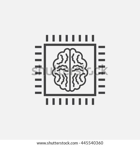 Artificial Intelligence Line Icon Outline Vector Stock
