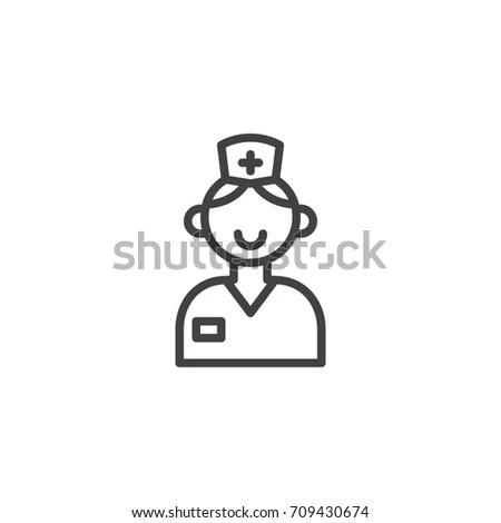 Modern Vector Line Icon Nurse Gynecology Stock Vector