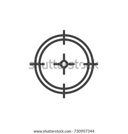Sight Icon Symbol Sniper Scope Isolated Stock Vector