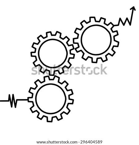 Gears Symbol Concept Motion Mechanics Connection Stock