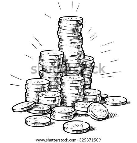 Stacks Coins Money Hand Drawn Vector Stock Vector