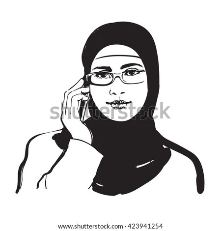 Man Woman Talking On Phone Muslim Stock Vector 431418127