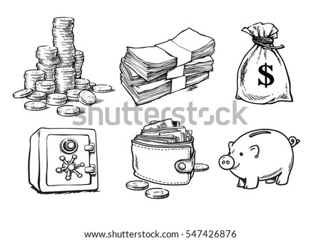 Finance Money Set Stack Coins Sack Stock Vector 547426876