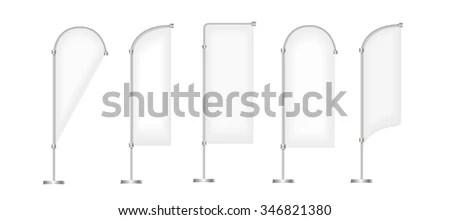 Set Vector Blank Advertising Beach Flags Stock Vector