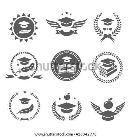 Graduation Cap Labels Set College Study Stock Vector
