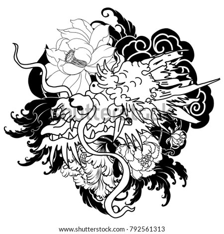 Japanese Old Dragon Tattoo Armhand Drawn Stock Vector