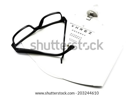closeup of a eyeglasses and eye chart isolated on a white