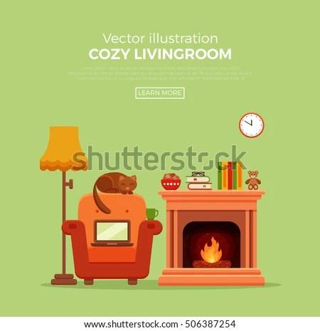 cartoon fireplace stock