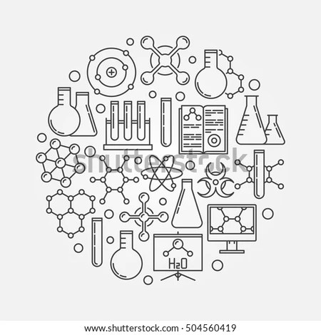 Chemistry Vector Illustration Round Science Symbol Stock