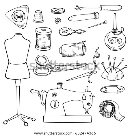 Sewing Accessories Set Vector Tailor Icons Stock Vector