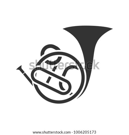 French Horn Glyph Icon Silhouette Symbol Stock Vector