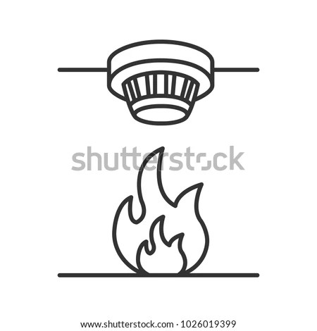 Smoke Detector Linear Icon Fire Alarm Stock Illustration