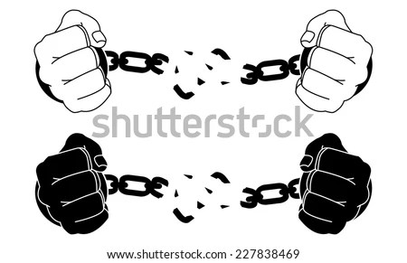 Male Hands Breaking Steel Handcuffs Black Stock Vector