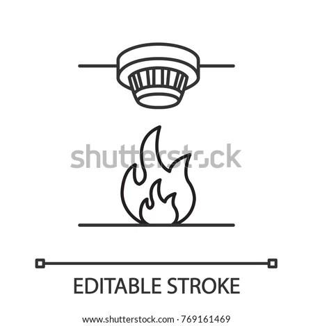 Smoke Detector Linear Icon Fire Alarm Stock Vector