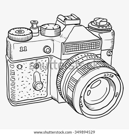 Graphics Doodle Outline Old Camera Isolated Stock Vector