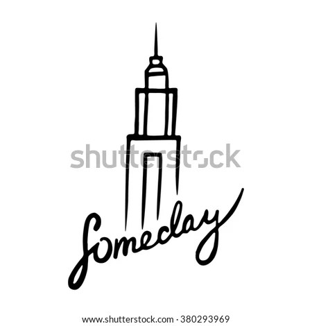 Someday Empire State Building Handdrawn Poster Stock