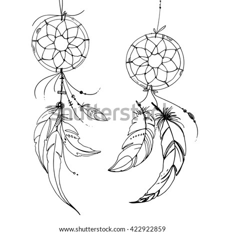 Dreamcatcher Set Ornaments Feathers Beads Native Stock