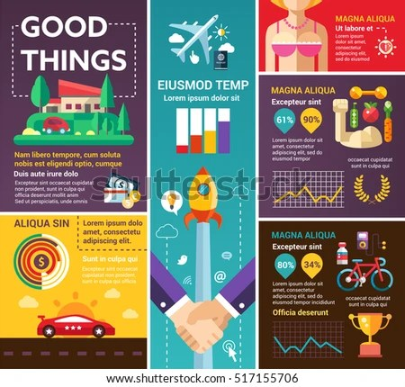 Good Things Info Poster Brochure Cover Stock Vector