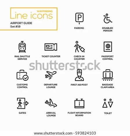 Airport Guide Modern Vector Single Line 库存矢量图 593824103