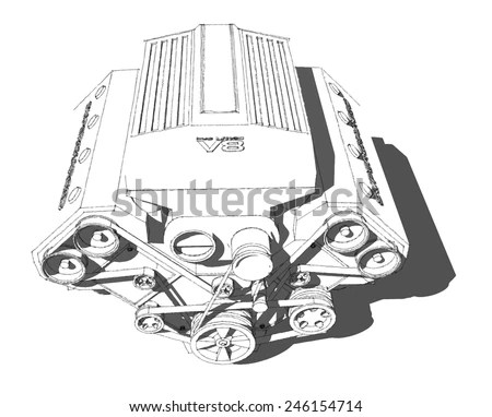 V8 Engine Pencil Drawings, V8, Free Engine Image For User