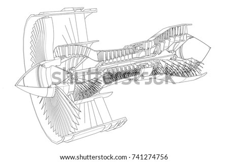 Turbo Jet Engine Aircraft Vector Line Stock Vector