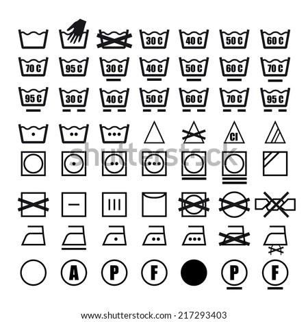 Vector Icon Set Washing Symbols Washing Stock Vector