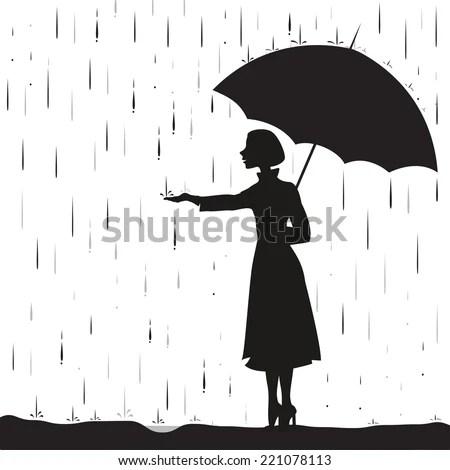 Girl Under Rain Holding Umbrella Touching Stock Vector