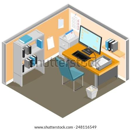 isometric desk office equipment