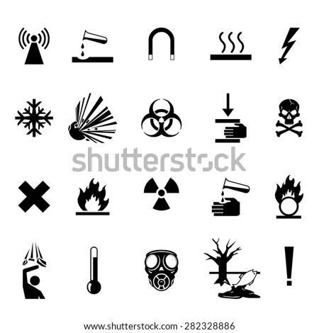 Vector Illustrations Hazard Warning Cons Industrial Stock